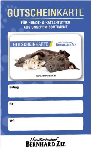 Gutschein für Hunde- und Katzenfutter
