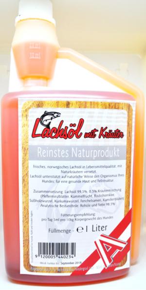 Hundefutter Zusatzstoff / Ergänzungsmittel Lachsöl mit Kräuter
