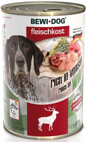 6er PACK Hundefutter Bewi Dog Fleischkost reich an Wild