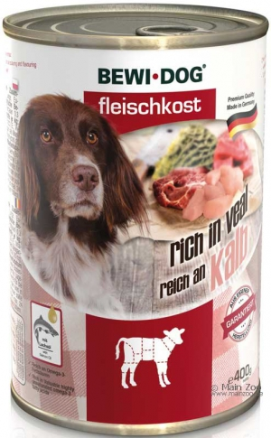 6er PACK  Hundefutter Bewi Dog Fleischkost reich an Kalb