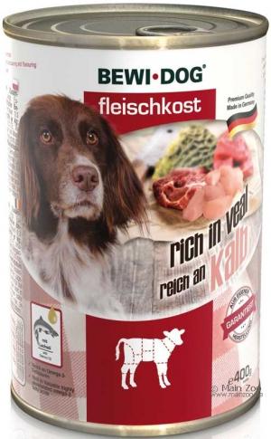 Hundefutter Bewi Dog Fleischkost reich an Kalb 400g