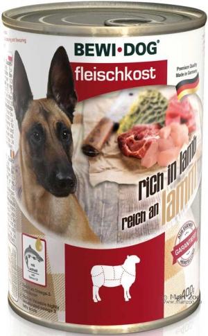 6er PACK Hundefutter Bewi Dog Fleischkost reich an Lamm