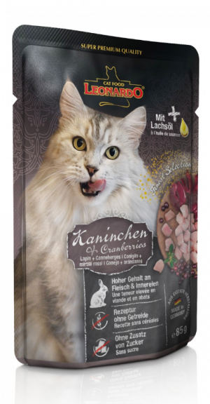 Katzenfutter Leonardo Kaninchen + Cranberries 85g Portionsbeutel
