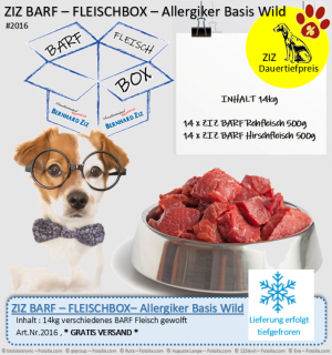 ZIZ BARF - FLEISCHBOX - Allergiker Basis Wild